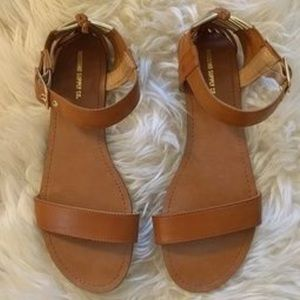 Brown and Gold Faux Leather Sandals